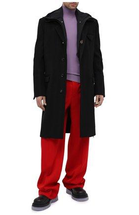 Мужские шерстяные брюки BOTTEGA VENETA красного цвета, арт. 653072/V0B20 | Фото 2 (Длина (брюки, джинсы): Стандартные; Случай: Повседневный; Стили: Минимализм; Материал внешний: Шерсть)