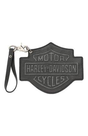 Мужской кожаный кошелек для монет HARLEY-DAVIDSON серого цвета, арт. HDWWA10973 - BLK | Фото 1