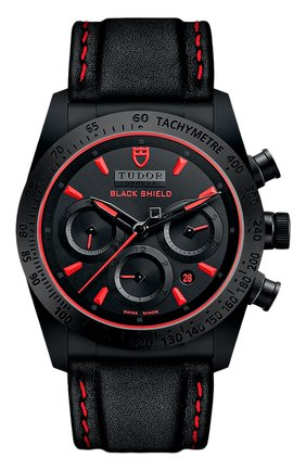 Мужские часы black shield TUDOR черного цвета, арт. 42000CR/CALF/BLACK RED | Фото 1