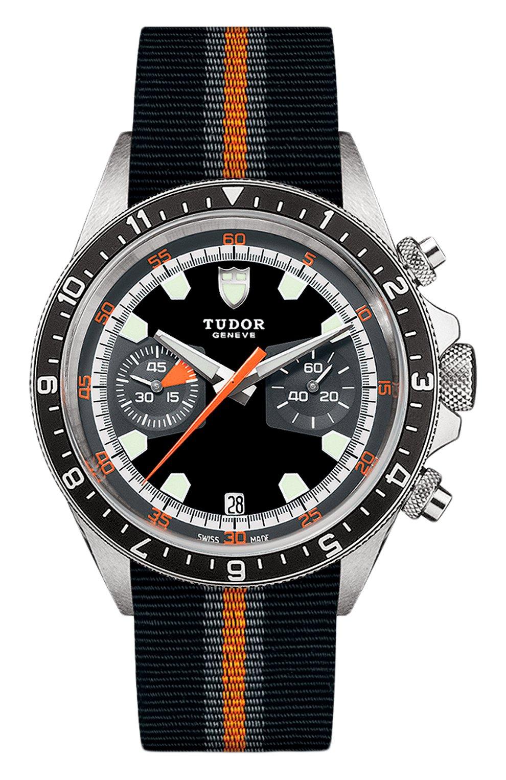 Мужские часы chrono TUDOR бесцветного цвета, арт. 70330N/BLACK FABRIC STRAP GREY AND ORANGE/BLACK GR | Фото 1 (Механизм: Автомат; Материал корпуса: Сталь; Цвет циферблата: Чёрный)