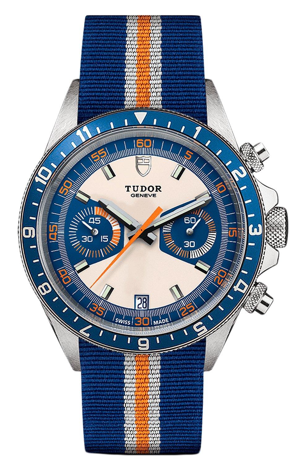 Мужские часы chrono blue TUDOR бесцветного цвета, арт. 70330B/BLUE FABRIC WHITE AND ORANGE/OPALINE BLUE   Фото 1 (Механизм: Автомат; Материал корпуса: Сталь; Цвет циферблата: Другое)