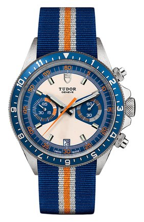 Мужские часы chrono blue TUDOR синего цвета, арт. 70330B/BLUE FABRIC WHITE AND ORANGE/OPALINE BLUE | Фото 1