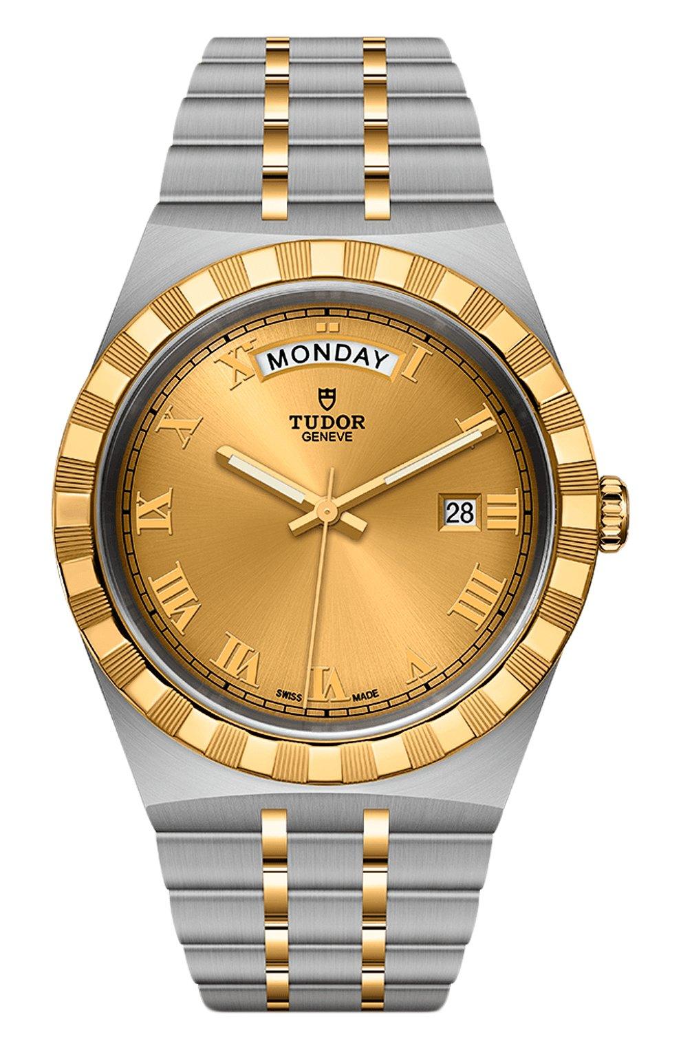 Мужские часы tudor royal TUDOR бесцветного цвета, арт. 28603/91063/CHAMPAGNE ROM | Фото 1 (Механизм: Автомат; Цвет циферблата: Другое; Материал корпуса: Сталь и жёлтое золото)