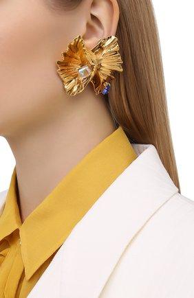 Женские клипсы SAINT LAURENT золотого цвета, арт. 635474/Y1526   Фото 2