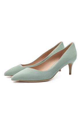 Женские замшевые туфли GIORGIO ARMANI светло-зеленого цвета, арт. X1E718/XC067 | Фото 1