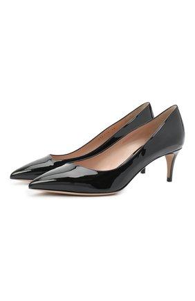 Женские кожаные туфли GIORGIO ARMANI черного цвета, арт. X1E718/XF024 | Фото 1 (Материал внутренний: Натуральная кожа; Подошва: Плоская; Каблук высота: Средний)