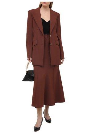 Женские кожаные туфли GIORGIO ARMANI черного цвета, арт. X1E718/XF024 | Фото 2 (Материал внутренний: Натуральная кожа; Подошва: Плоская; Каблук высота: Средний)