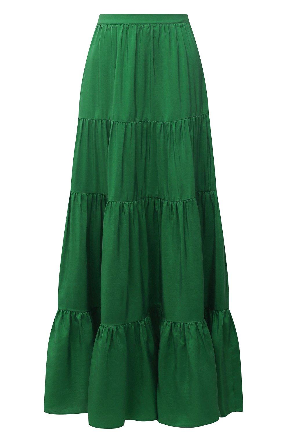 Женская шелковая юбка KITON зеленого цвета, арт. D49214K09T62   Фото 1