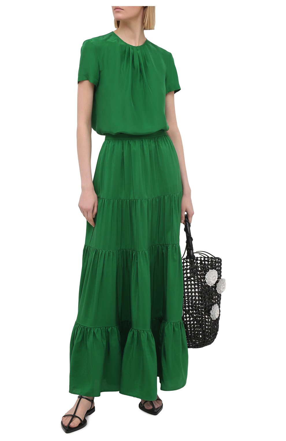 Женская шелковая юбка KITON зеленого цвета, арт. D49214K09T62   Фото 2