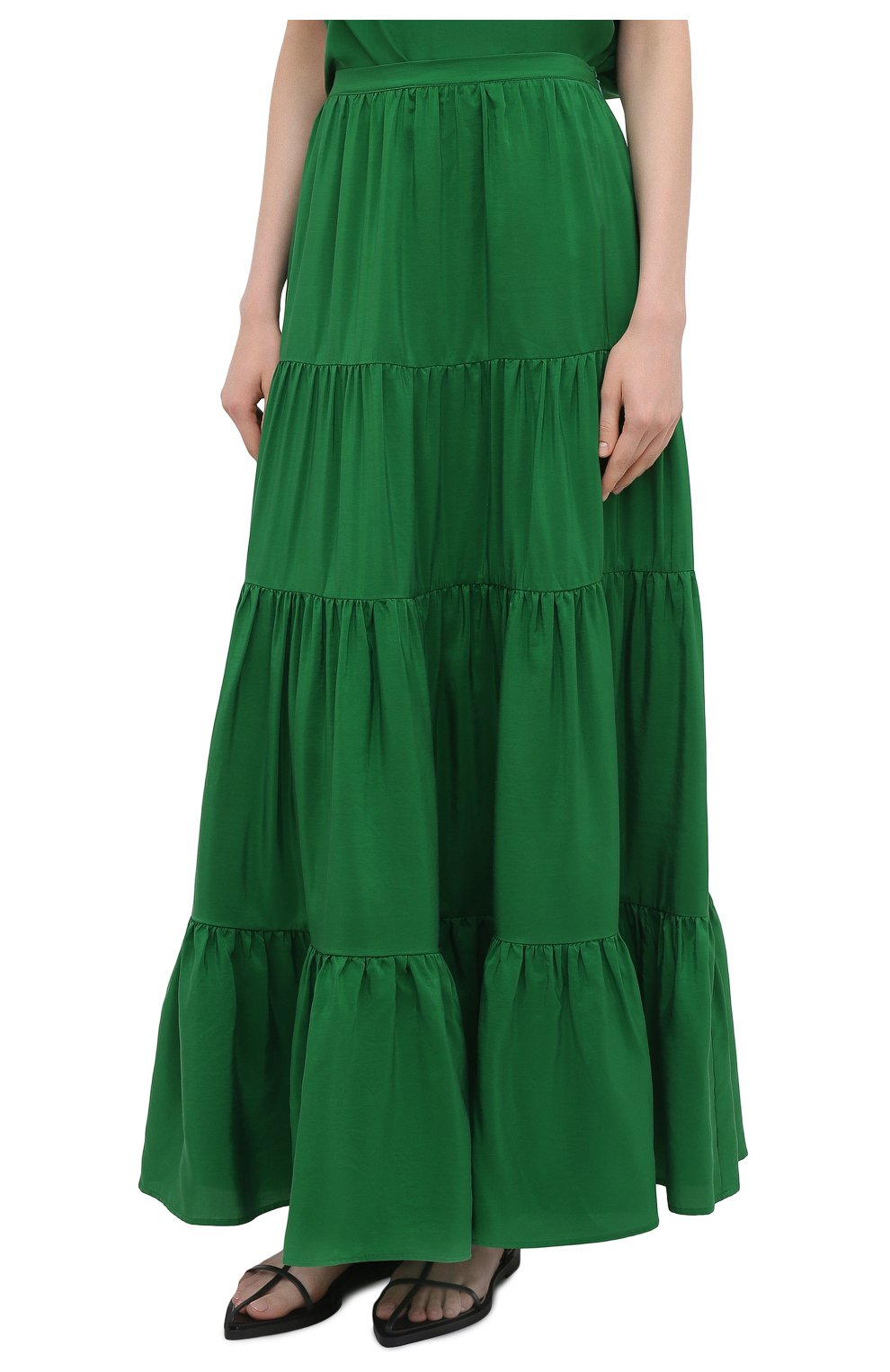 Женская шелковая юбка KITON зеленого цвета, арт. D49214K09T62   Фото 3