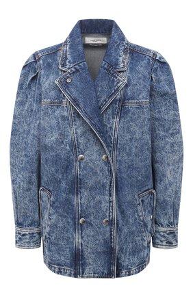 Женская джинсовая куртка ISABEL MARANT ETOILE синего цвета, арт. VE1575-21P019E/LUCINDAWF | Фото 1 (Рукава: Длинные; Кросс-КТ: Куртка, Деним; Стили: Гранж; Длина (верхняя одежда): До середины бедра; Материал внешний: Хлопок)