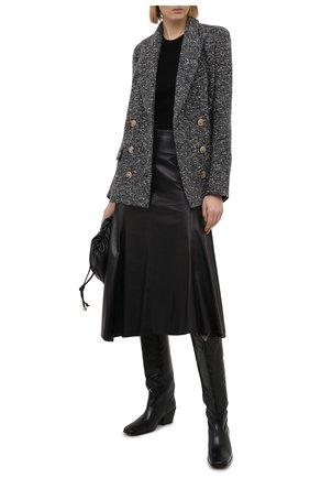 Женская кожаная юбка ISABEL MARANT черного цвета, арт. JU1268-21P001I/B0KISSA | Фото 2