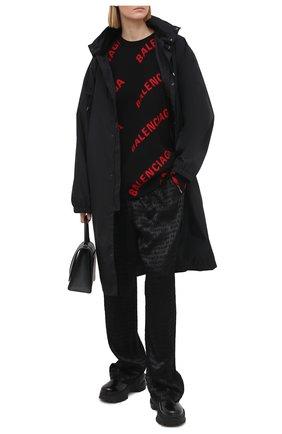 Женские брюки из вискозы и шелка BALENCIAGA черного цвета, арт. 595222/TJ084 | Фото 2