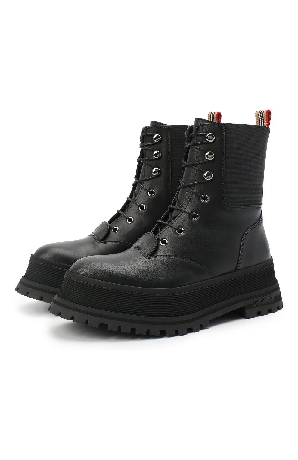 Женские кожаные ботинки springton BURBERRY черного цвета, арт. 8034295   Фото 1
