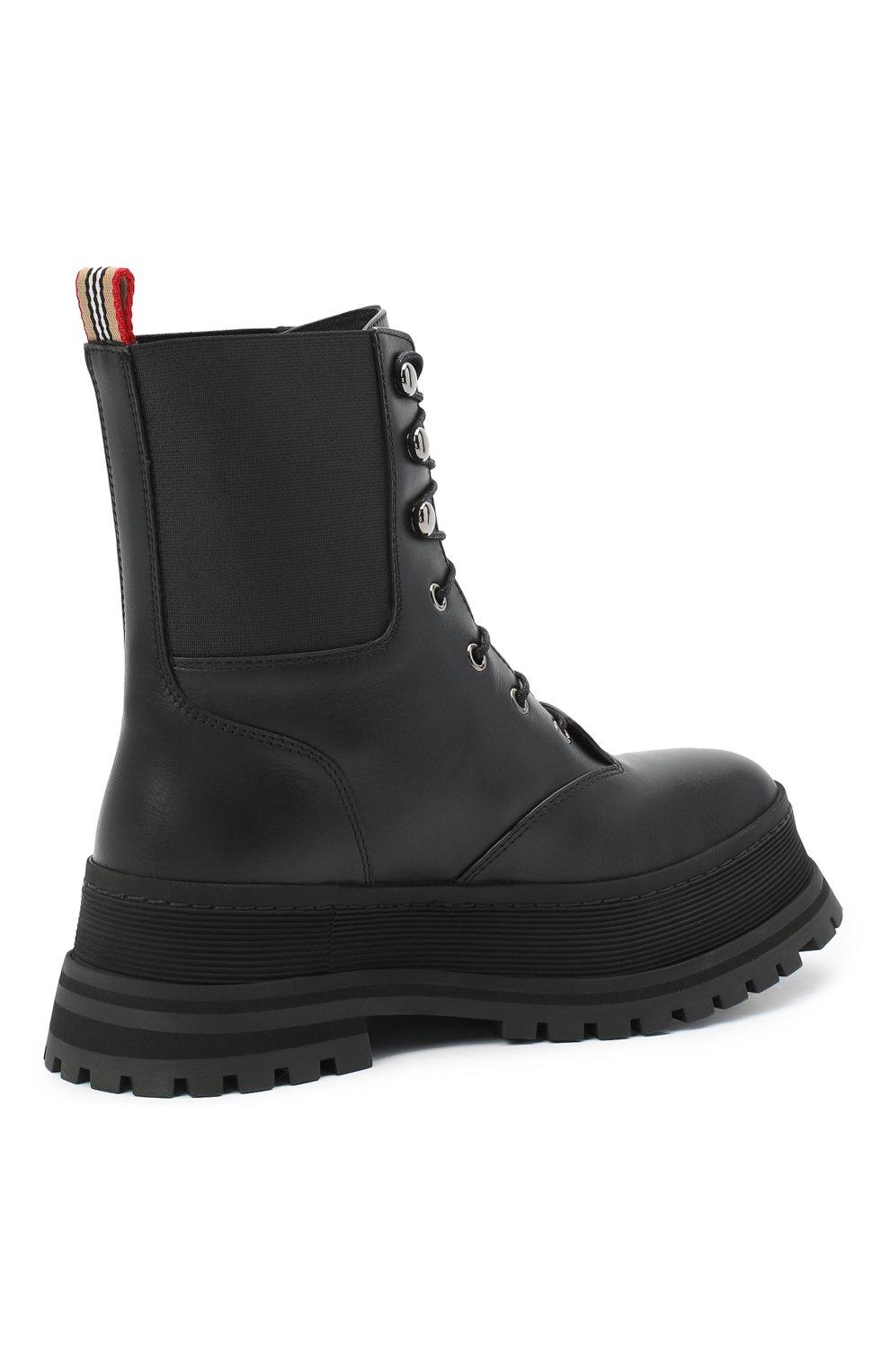 Женские кожаные ботинки springton BURBERRY черного цвета, арт. 8034295   Фото 4
