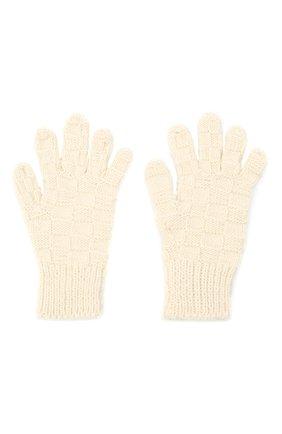 Женские шерстяные перчатки BOTTEGA VENETA белого цвета, арт. 653581/3V200 | Фото 2 (Материал: Шерсть; Кросс-КТ: Трикотаж)