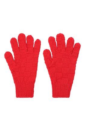 Женские шерстяные перчатки BOTTEGA VENETA красного цвета, арт. 653581/3V200 | Фото 2 (Материал: Шерсть; Кросс-КТ: Трикотаж)