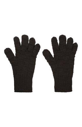 Женские шерстяные перчатки BOTTEGA VENETA темно-коричневого цвета, арт. 653581/3V200 | Фото 2 (Кросс-КТ: Трикотаж; Материал: Шерсть)