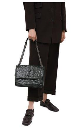 Женская сумка niki SAINT LAURENT темно-зеленого цвета, арт. 633158/0EN04   Фото 2 (Материал: Натуральная кожа; Сумки-технические: Сумки через плечо; Ремень/цепочка: С цепочкой, На ремешке; Размер: medium)