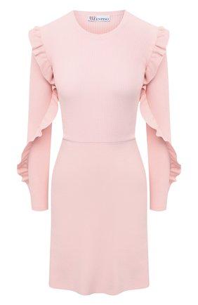 Женское платье REDVALENTINO светло-розового цвета, арт. VR3KD02B/5P4   Фото 1 (Материал внешний: Синтетический материал, Вискоза; Случай: Коктейльный; Рукава: Длинные; Стили: Романтичный; Женское Кросс-КТ: Платье-одежда; Длина Ж (юбки, платья, шорты): Мини)