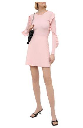 Женское платье REDVALENTINO светло-розового цвета, арт. VR3KD02B/5P4   Фото 2 (Материал внешний: Синтетический материал, Вискоза; Случай: Коктейльный; Рукава: Длинные; Стили: Романтичный; Женское Кросс-КТ: Платье-одежда; Длина Ж (юбки, платья, шорты): Мини)