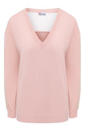 Женский шерстяной пуловер REDVALENTINO светло-розового цвета, арт. VR3KC06G/5NG   Фото 1 (Длина (для топов): Стандартные; Стили: Романтичный; Рукава: Длинные; Материал внешний: Шерсть; Женское Кросс-КТ: Пуловер-одежда)