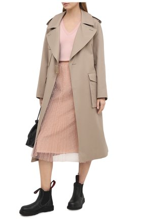 Женский шерстяной пуловер REDVALENTINO светло-розового цвета, арт. VR3KC06G/5NG   Фото 2 (Длина (для топов): Стандартные; Стили: Романтичный; Рукава: Длинные; Материал внешний: Шерсть; Женское Кросс-КТ: Пуловер-одежда)