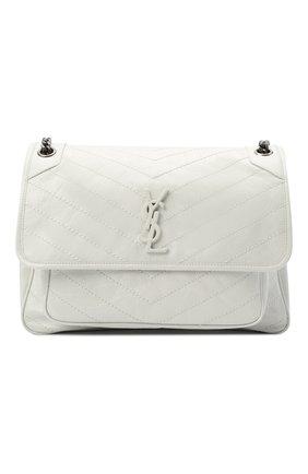 Женская сумка niki large SAINT LAURENT белого цвета, арт. 498883/0EN04 | Фото 1 (Материал: Натуральная кожа; Сумки-технические: Сумки через плечо; Ремень/цепочка: С цепочкой, На ремешке; Размер: large)