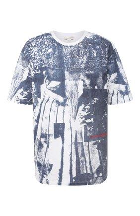 Женская хлопковая футболка ALEXANDER MCQUEEN темно-синего цвета, арт. 651868/QZAC0 | Фото 1 (Рукава: Короткие; Длина (для топов): Стандартные; Материал внешний: Хлопок; Стили: Спорт-шик; Женское Кросс-КТ: Футболка-одежда; Принт: С принтом)