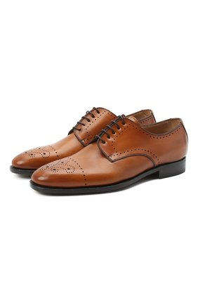 Мужские кожаные дерби KITON светло-коричневого цвета, арт. USSDECH/N101 | Фото 1