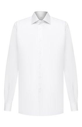 Мужская хлопковая сорочка BRIONI белого цвета, арт. RCL412/P7003 | Фото 1 (Материал внешний: Хлопок; Случай: Формальный; Воротник: Кент; Стили: Классический; Рукава: Длинные; Рубашки М: Regular Fit; Длина (для топов): Стандартные)