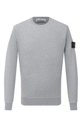 Мужской хлопковый свитшот STONE ISLAND светло-серого цвета, арт. 741563051   Фото 1
