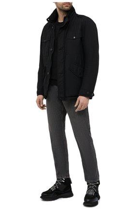 Мужской хлопковый свитшот STONE ISLAND черного цвета, арт. 741563051 | Фото 2