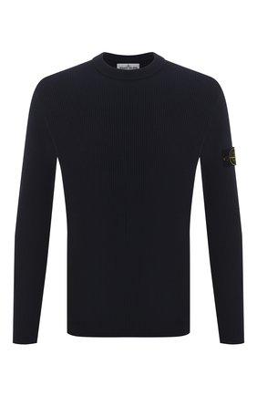 Мужской хлопковый свитер STONE ISLAND темно-синего цвета, арт. 7415552D8 | Фото 1