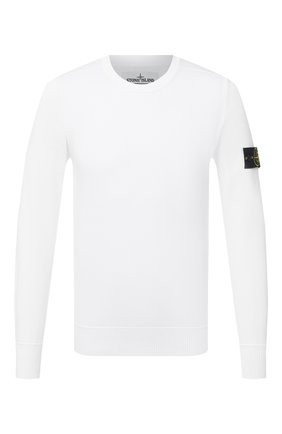 Мужской хлопковый джемпер STONE ISLAND белого цвета, арт. 7415504B2 | Фото 1