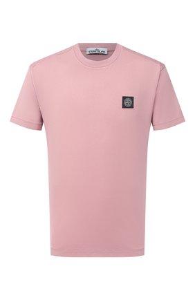 Мужская хлопковая футболка STONE ISLAND розового цвета, арт. 741524113 | Фото 1