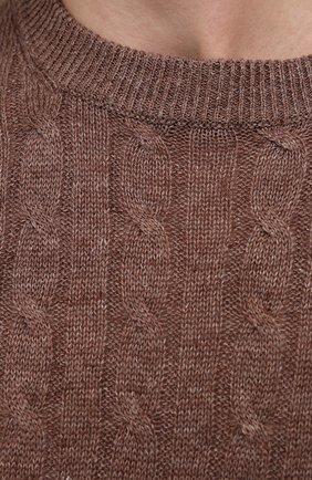 Мужской джемпер изо льна и хлопка BRUNELLO CUCINELLI коричневого цвета, арт. M2L76020   Фото 5