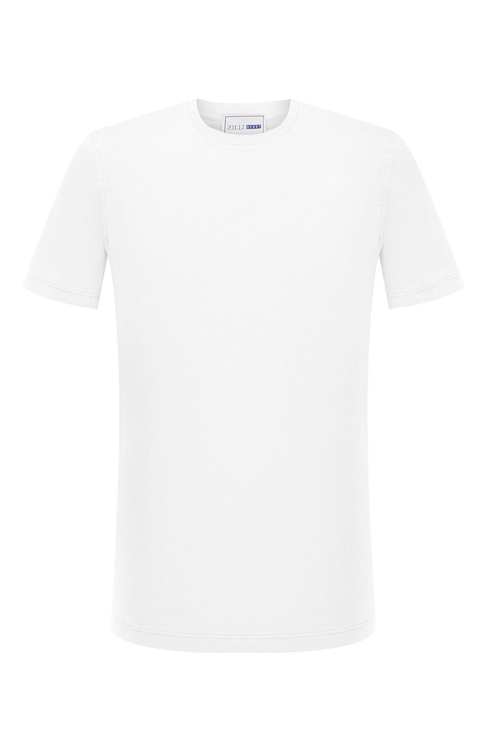 Мужская хлопковая футболка ZILLI SPORT белого цвета, арт. MFU-13075-447782/0014   Фото 1 (Принт: Без принта; Рукава: Короткие; Длина (для топов): Стандартные; Материал внешний: Хлопок; Стили: Кэжуэл)