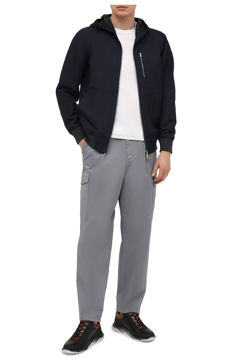 Мужская хлопковая футболка ZILLI SPORT белого цвета, арт. MFU-13075-447782/0014   Фото 2 (Принт: Без принта; Рукава: Короткие; Длина (для топов): Стандартные; Материал внешний: Хлопок; Стили: Кэжуэл)