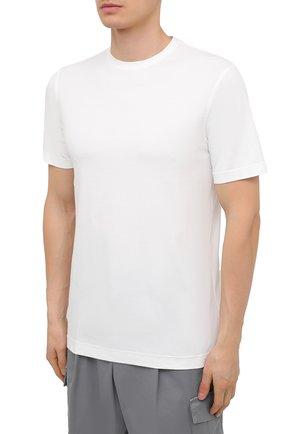 Мужская хлопковая футболка ZILLI SPORT белого цвета, арт. MFU-13075-447782/0014   Фото 3 (Принт: Без принта; Рукава: Короткие; Длина (для топов): Стандартные; Материал внешний: Хлопок; Стили: Кэжуэл)