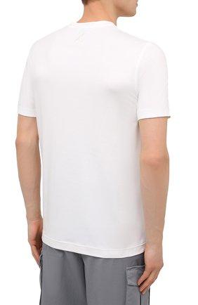Мужская хлопковая футболка ZILLI SPORT белого цвета, арт. MFU-13075-447782/0014   Фото 4 (Принт: Без принта; Рукава: Короткие; Длина (для топов): Стандартные; Материал внешний: Хлопок; Стили: Кэжуэл)