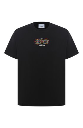Мужская хлопковая футболка BURBERRY черного цвета, арт. 8037085 | Фото 1