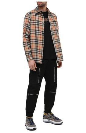 Мужская хлопковая футболка BURBERRY черного цвета, арт. 8037085 | Фото 2