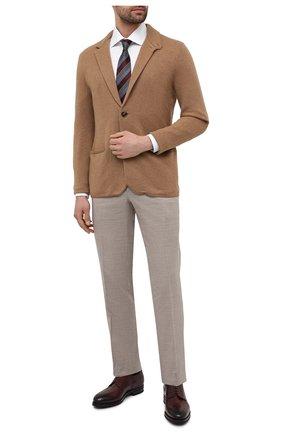 Мужские брюки из шерсти и льна BRIONI бежевого цвета, арт. RPL80N/P9AB9/MEGEVE | Фото 2 (Длина (брюки, джинсы): Стандартные; Материал внешний: Шерсть; Стили: Классический; Случай: Формальный; Материал подклада: Купро)