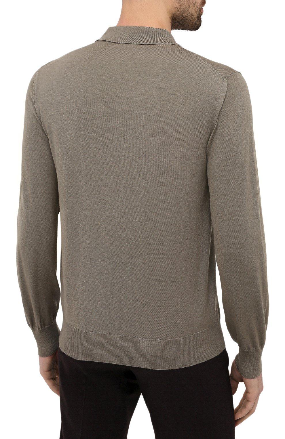 Мужское шерстяное поло BRIONI хаки цвета, арт. UMS10L/0ZK28   Фото 4