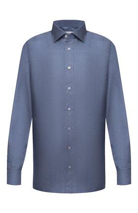 Мужская шелковая сорочка BRIONI синего цвета, арт. RCL40L/P007R | Фото 1 (Материал внешний: Шелк; Мужское Кросс-КТ: Сорочка-одежда; Воротник: Кент; Big sizes: Big Sizes; Стили: Классический; Длина (для топов): Стандартные; Принт: С принтом; Манжеты: На пуговицах; Рубашки М: Classic Fit; Рукава: Длинные; Случай: Формальный)