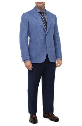 Мужская шелковая сорочка BRIONI синего цвета, арт. RCL40L/P007R | Фото 2 (Материал внешний: Шелк; Мужское Кросс-КТ: Сорочка-одежда; Воротник: Кент; Big sizes: Big Sizes; Стили: Классический; Длина (для топов): Стандартные; Принт: С принтом; Манжеты: На пуговицах; Рубашки М: Classic Fit; Рукава: Длинные; Случай: Формальный)