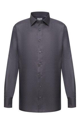 Мужская шелковая сорочка BRIONI темно-синего цвета, арт. RCL40L/P007R | Фото 1 (Мужское Кросс-КТ: Сорочка-одежда; Материал внешний: Шелк; Big sizes: Big Sizes; Воротник: Кент; Манжеты: На пуговицах; Стили: Классический; Принт: С принтом; Длина (для топов): Стандартные; Рубашки М: Classic Fit; Рукава: Длинные; Случай: Формальный)