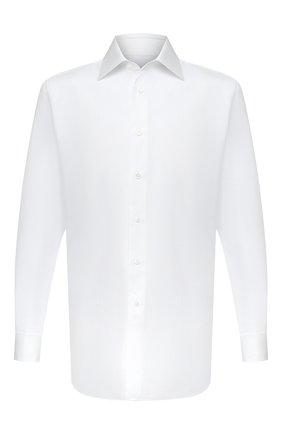 Мужская хлопковая сорочка BRIONI белого цвета, арт. RCA30L/PZ016 | Фото 1 (Стили: Классический; Рукава: Длинные; Воротник: Кент; Длина (для топов): Стандартные; Рубашки М: Regular Fit; Материал внешний: Хлопок; Случай: Формальный)