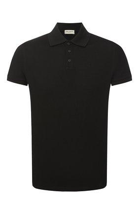 Мужское хлопковое поло SAINT LAURENT черного цвета, арт. 554052/YB20C | Фото 1